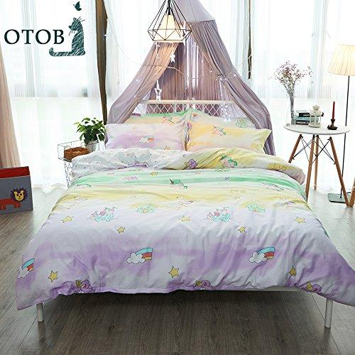 ORoa New Cartoon Unicorn Twin Cute Duvet Cover Set for Kids 100% Cotton Reversible Comfortable 3 Pieces Kids Bedding Duvet Cover Pillowcases Child Rainbow Bedding Sets