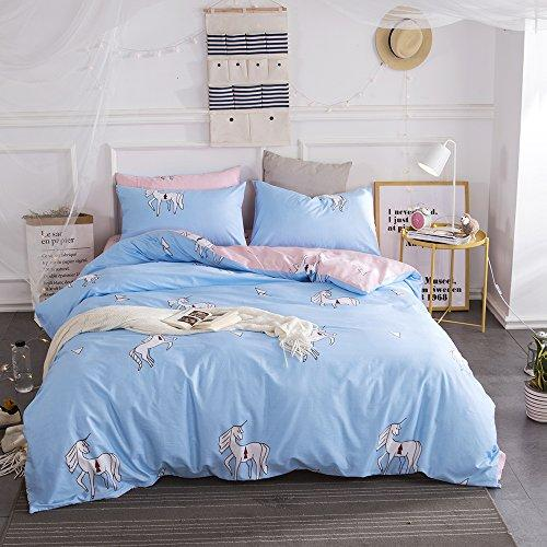 BuLuTu Animal Teen Bedding Sets Twin Blue/Pink Egyptian Cotton Boys Girls,Premium Reversible Bed Cover Kids Duvet Cover Twin Set Zipper Closure,Lightweight,Breathable,Super Soft,NO COMFORTER