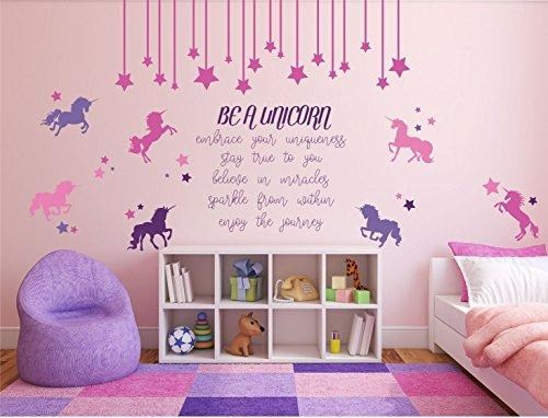 Be a Unicorn Full Wall Mural Vinyl Girls Bedroom Decor Nursery Teen