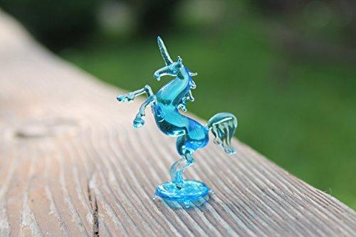 Rearing Glass Unicorn Figurine Free Standing Glass Animal Sculpture Figurines Lampwork Blown Glass Handmade Unique