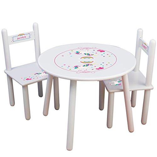 Personalized UnicornChildrens White Table and Chair Set