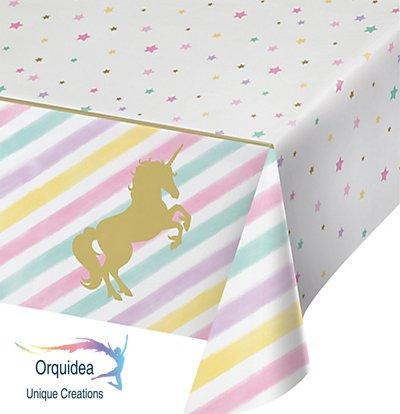 Orquidea Unique Creations Unicorn Sparkle Plastic Tablecloth by