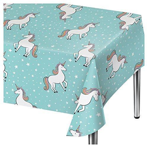 "Spritz Aqua Unicorn Party Table Cover - 54"" x 84"""