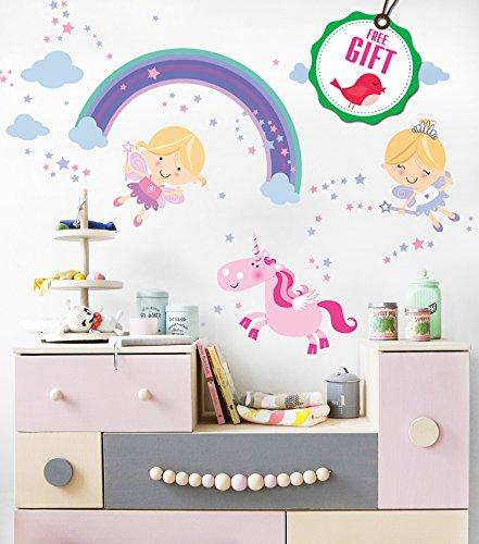 Princess Unicorn Vinyl Wall Decals for Girls - Fairy Nursery stickers for bedroom - Cute DIY Removable Room Décor for girls bedroom [>25 pink art kids decals] with FREE GIFT!