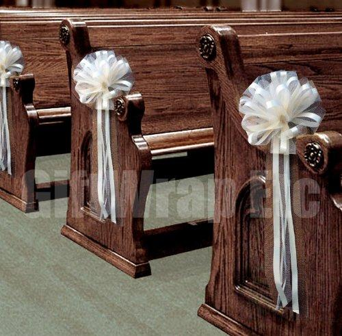 "Wedding Aisle Decorations - Ivory Tulle Wedding Pull Bows for Church Pews - 9"" Wide, Set of 4"