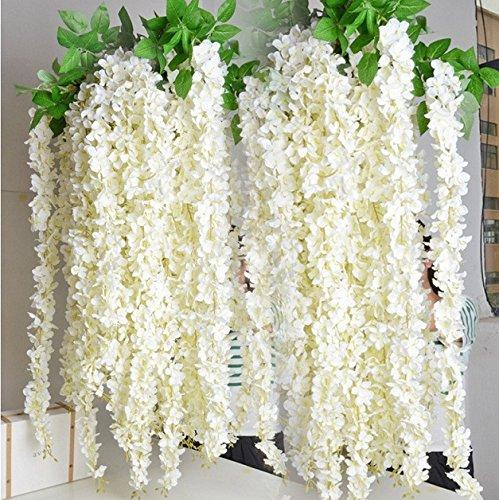 e-joy 3.6 Feet Artificial Wisteria Vine Ratta Silk Hanging Flower Wedding Decor, 24 Pieces -White