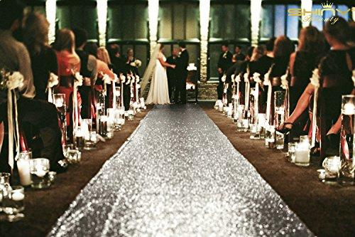ShinyBeauty Sequin Wedding Party Aisle Runner Carpet, Silver 25FTx4FT Elegant Banquet Aisle Runner, Floor Runner