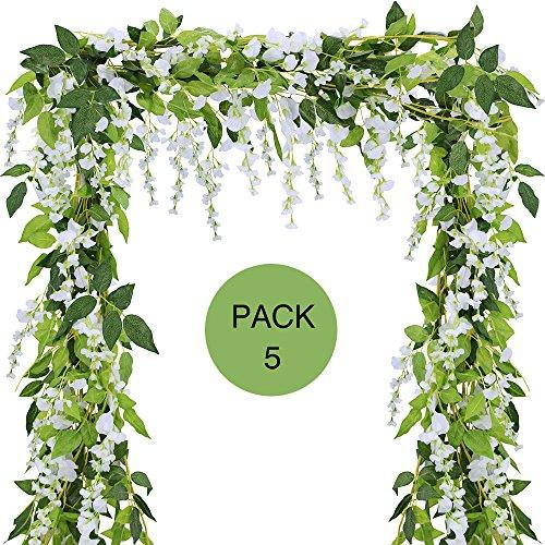 Supla Pack of 5 Artificial Wisteria Hanging Garland in White Silk Wisteria Hanging Vine - 6.6 Long - 6 String Flowers for Home Garden Outdoor Yard Ceremony Wedding Arch Floral