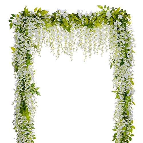 DearHouse Wisteria Artificial Flowers Garland, 44.2FT 6Pcs White Artificial Wisteria Vine Silk Hanging Flower For Home Garden Outdoor Ceremony Wedding Arch Floral Decor