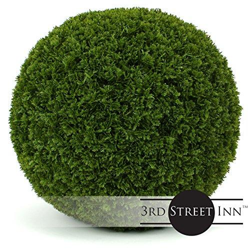 "3rd Street Inn Cypress Topiary Ball - 19"" Artificial Topiary Plant - Wedding Decor - Indoor/Outdoor Artificial Plant Ball - Topiary Tree Substitute (1, Cypress)"