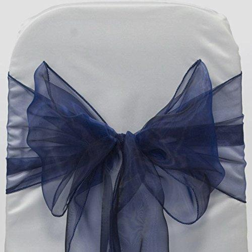 mds Pack of 10 Organza Chair Sashes/Bows sash for Wedding or Events Banquet Decor Chair bow sash -Navy blue