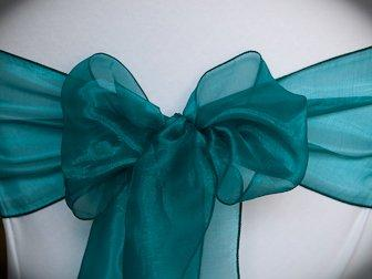 MDS Set of 50 Organza Chair Sashes / Bows sash for Wedding or Events Banquet Decor Chair bow sash -dark teal