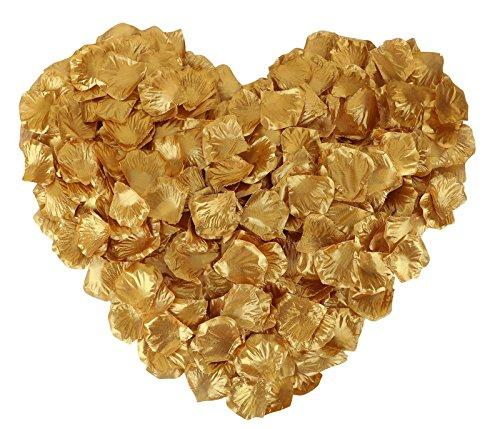 Jasmine 1000 Pieces Non-woven Rose Petals Artificial Flower Petals for Wedding Confetti Valentine Day Flower Décor,Gold