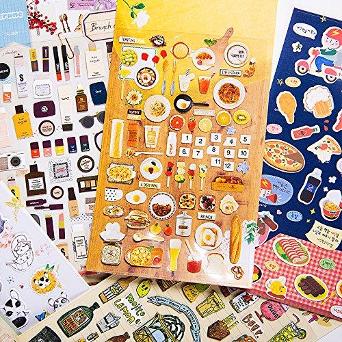 Funny Diary Sticker Notebook Decorative Sticker, 6 Sheets