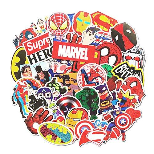 Cartoon Stickers, Echeer Superheros PVC Waterproof Stickers for Decorate Laptop, Notebooks, Car, Bicycle, Skateboards, Luggage etc (50PCS No-Duplicate Stickers Pack)