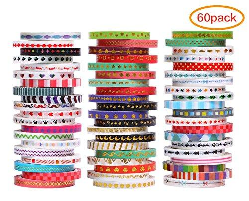 60 Rolls Washi Tape Set,3MM Wide Foil Gold Skinny Decorative Masking Washi Tapes for Scrapbooks, DIY Crafts, Cards, Journals, Planners, Gifts