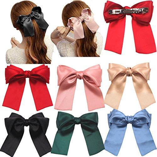 6 Pcs Large Big Huge Soft Silky Hair Bow Clip Lolita Party Oversize Handmade Girl French Barrette Style Hair Clips