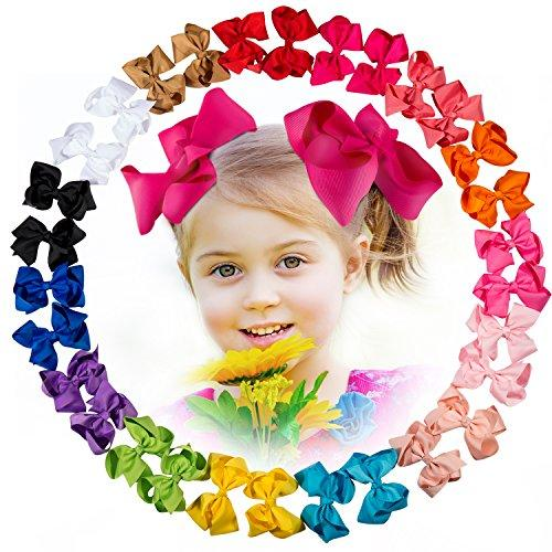30 Pcs Baby Girl 4.5 Ribbon Boutique Hair Bows Clips with 15 Colors in Pairs