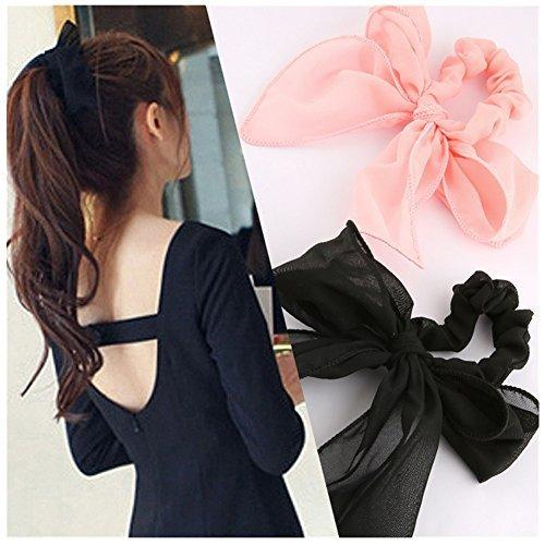 Lovef New 5pcs Cute Girls Womens Big Solid Rabbit Ear Hair Bow Tie Bands Ponytail Holder Hair Jewelry