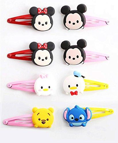 Finex Set of 8 Tsum Tsum Snap Clip Hair Clips - Disney Winnie the Pooh Mickey Mouse Minnie Mouse Chip n Dale Baymax Mike Stitch Alien hair accessoriesRandom Colors (Color Snap Clip)