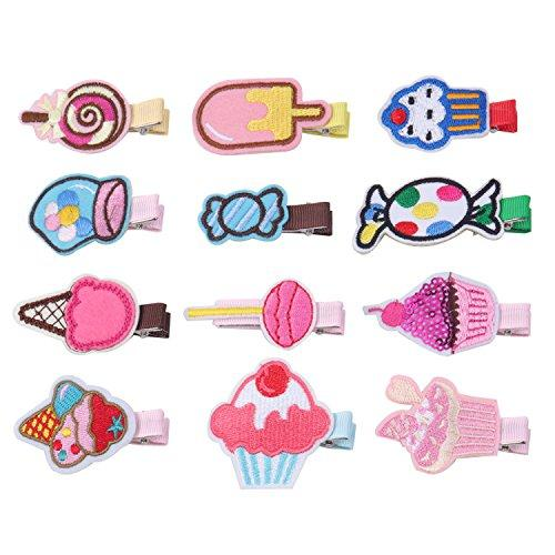 KOONY Baby Girls Hair Clips Cartoon Design Embroidered Patches Barrettes 12pc (Candy)