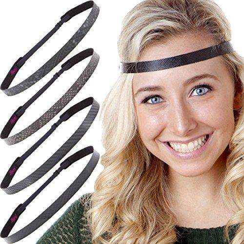 Hipsy Womens Adjustable Cute Fashion Headbands Hairband Gift Pack (Black Headband 5pk)