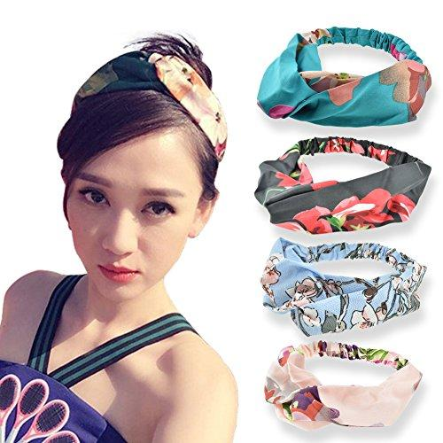 DRESHOW Silk Headbands Vintage Elastic Printed Head Wrap Stretchy Elastic Hairband Twisted Cute Hair Accessories,4 Pack (Pink Black Blue Green)