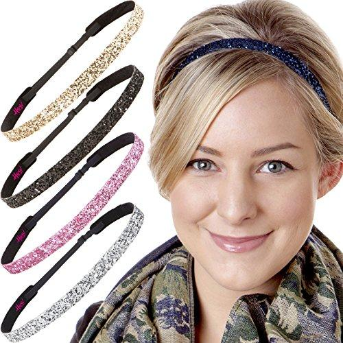 Hipsy Womens Adjustable Cute Fashion Headbands Hairband Gift Pack (5pk Skinny Navy/Silver/Light Pink/Black/Gold)