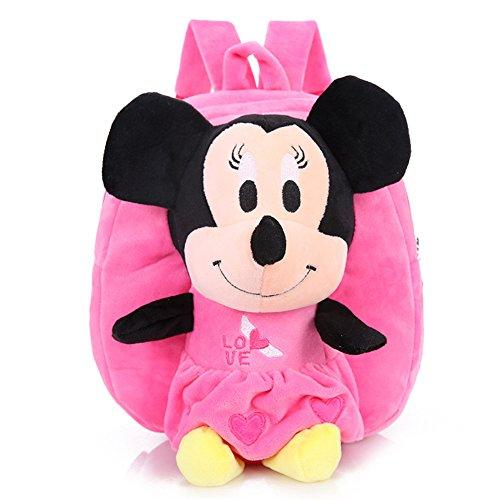 YOURNELO Kids Plush Mickey Mouse Preschool Toddler Toys Bag Backpack Schoolbag (B-Minnie Pink)