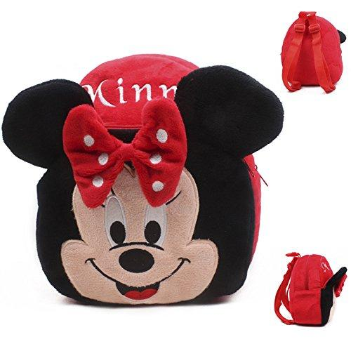 TN Girls Kids Cute Black Red Minnie Mouse Backpack Plush Schoolbag White Polka Dot Bow Kindergarten Bag Small Sized, Polyester