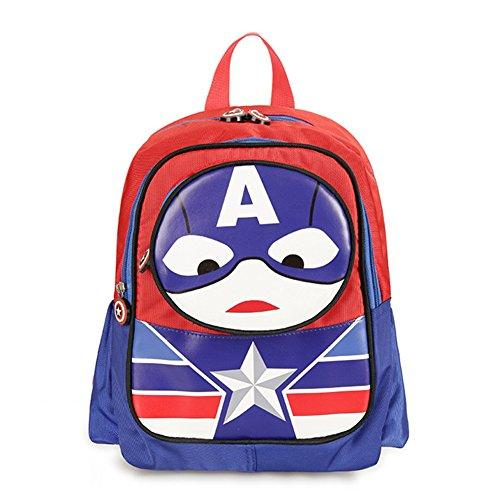 YOURNELO Childrens Cartoon Character Backpack Elementary Student Schoolbag for Girls Boys (Captain America)