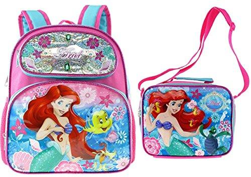 "Disney Ariel 12"" Embossed Backpack with Matching Insulated Lunch Tote"