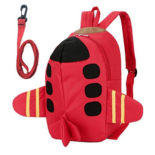 Beide Toddler Schoolbag 3D Airplane Backpack (red)
