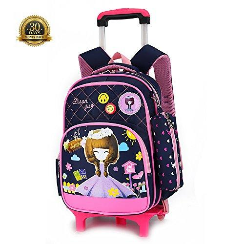 Lovely Girl Rolling Backpack Girls School Bags with Wheels, 2 Wheels Removable Schoolbag HIGOGOGO Kids Rolling Backpacks Luggage Two Wheels Unisex Trolley School Bags