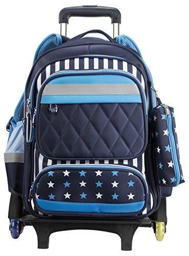 GSD Brands Boys backpack carry on rolling - soccer sports baseball luggage brand bag with safety reflective strip wheels trolley sturdy for travel 6 wheel sleepover laptop tablet student teen