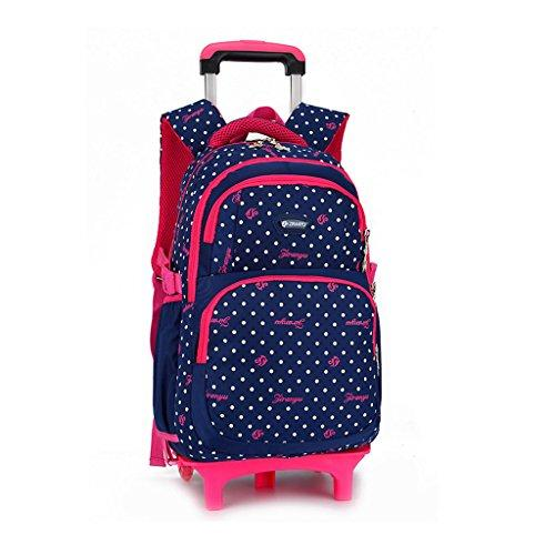Trolley Backpack Kids- Rolling Bookbags Kids Schoolbag with Wheels for Boys Girls