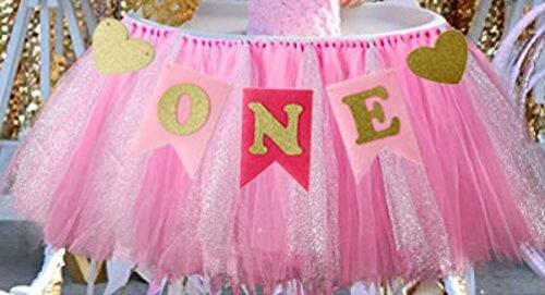 "Alemon 1st Birthday Girl Baby Tutu for High Chair Decoration and ""ONE"" Pennant Happy Birthday for Highchair"