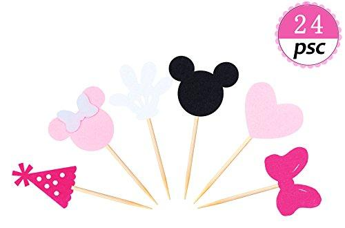 Minnie Mouse Inspired Cupcake Toppers (Set of 24) Girls Pink Birthday Party Decorations Baby kids