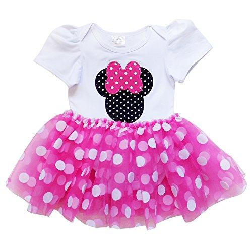 So Sydney Baby Toddler Girl Minnie Mouse Pink Tutu Chiffon Skirt Bodysuit Romper (M (6-12 Months), Hot Pink Polka Dot)