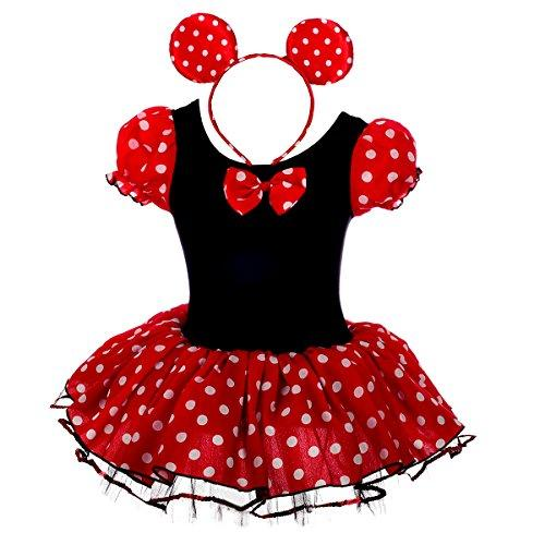 Dressy Daisy Baby-Girls Minnie Mouse Fancy Dresses Dance Costume with Headband Size 12-24 Months Red & Black