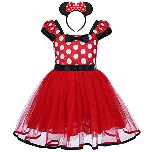 OBEEII Minnie Costume Baby Girl Tutu Dress Mouse Ear Headband Polka Dot First Birthday Halloween Fancy Dress Up Princess Outfits 80