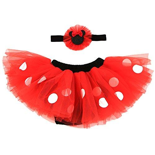 Disney Baby Minnie Mouse Dress Up Headband and Tutu Set, red, black, 0-12M