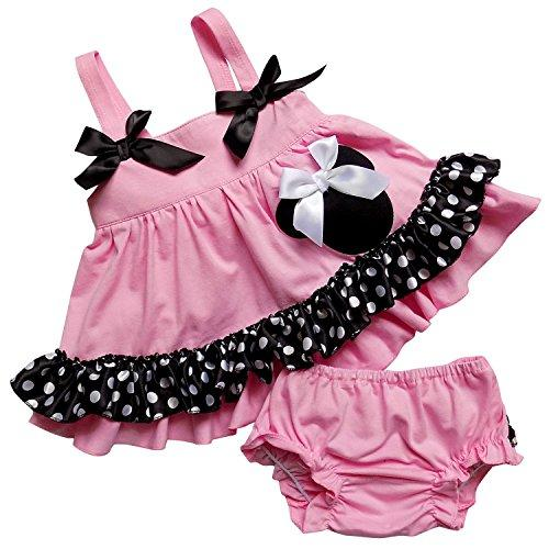 So Sydney Baby Toddler 2 Pc Tank Swing Top and Ruffle Diaper Cover Pants Outfit (XL (18-24 Months), Pink Polka Dot Minnie)