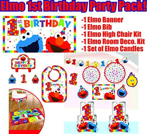 Elmo Turns One Birthday Party Supplies and Decorations Including Elmo Themed Birthday Bib, High Chair Kit, Birthday Banner, Candle Set, Room Decoration Kit (Bonus Party Straw Bundle!)
