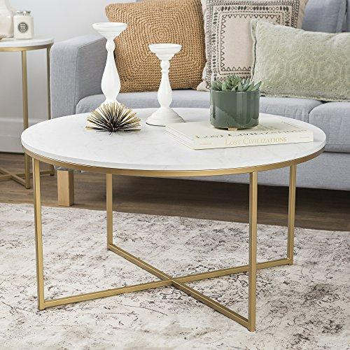"WE Furniture 36"" Coffee Table X-Base - Faux Marble/Gold"