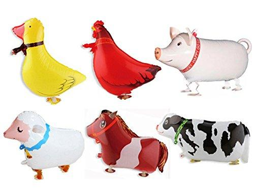 Pack of 6 Walking Animal Balloons Farm Animal Balloon Birthday Party BBQ Party Décor(Pony,Duck,Rooster,Cow,Pig,Sheep)