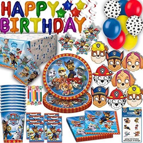 HeroFiber Paw Patrol Party for 16 - Plates, Cups, Napkins, Balloons, Inflatable HAPPY BIRTHDAY Banner, Masks, Loot Bags, Hanging Swirls, Tattoos, Table Cover, Blowouts - Decorations + Supplies