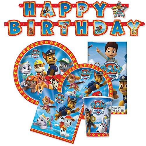 Paw Patrol Birthday Party Supplies - Tableware for 16 Guests + Decorations