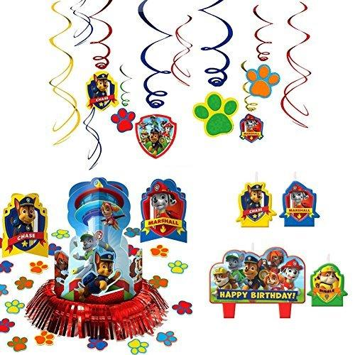 Amscan Paw Patrol Party Supplies Pack Decorations - Candle Set, Hanging Cutouts, and Table Decorating Kit