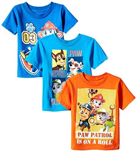 Paw Patrol Toddler Boys 3-Pack T-Shirt Shirts, Multi Colored, 3T